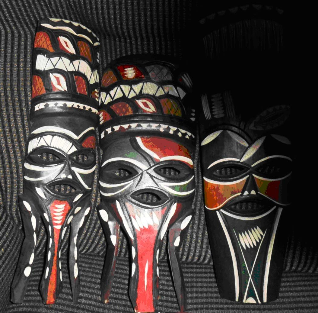 One Wooden Tribal African Callous Mask Hand Carved In