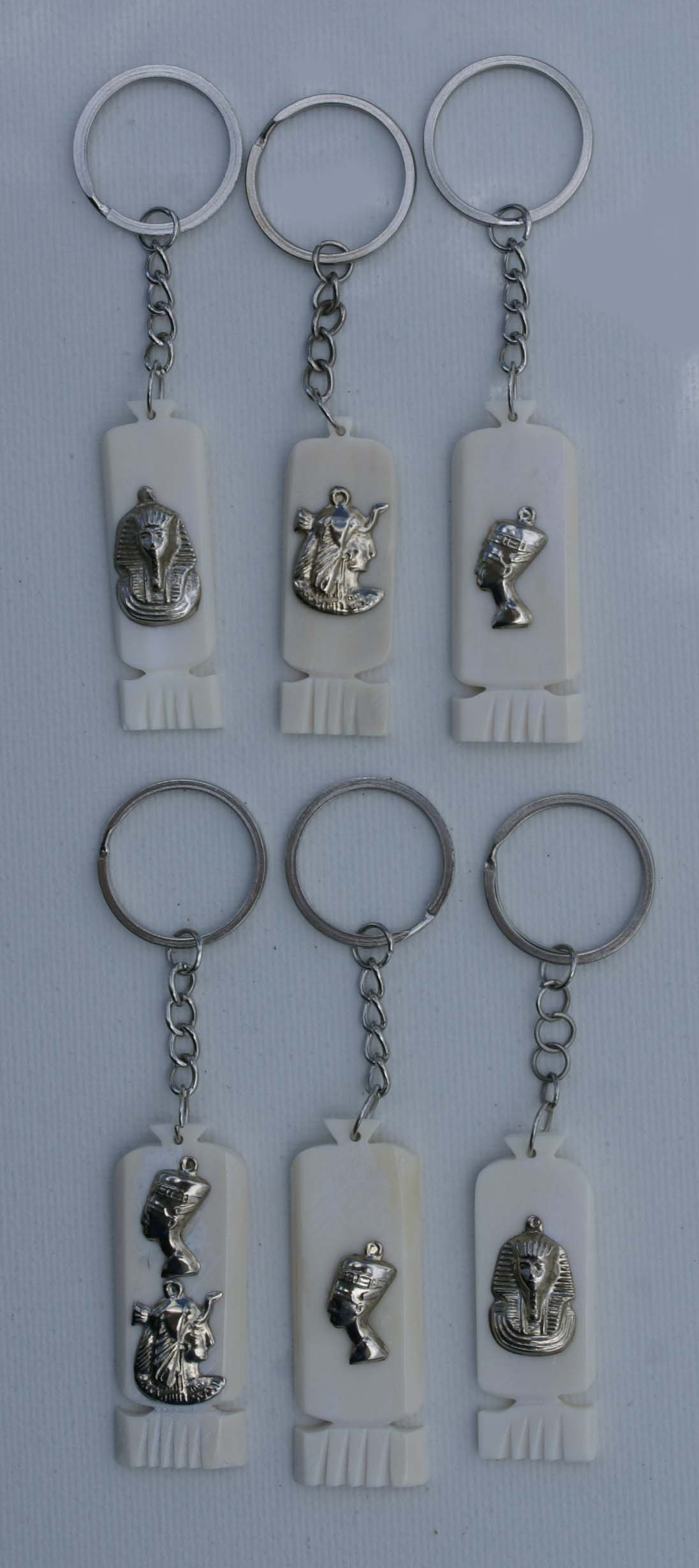 Lot 5 White Animal Bone Keychains Handmade in Egypt, Pharaonic Style with  Metal Decor