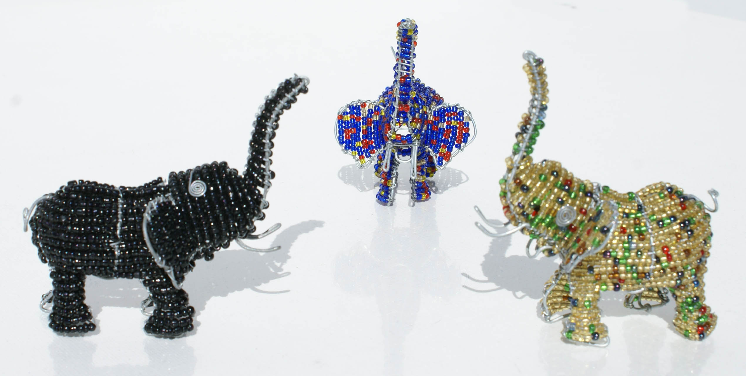African elephant metal wire animal figurine one piece