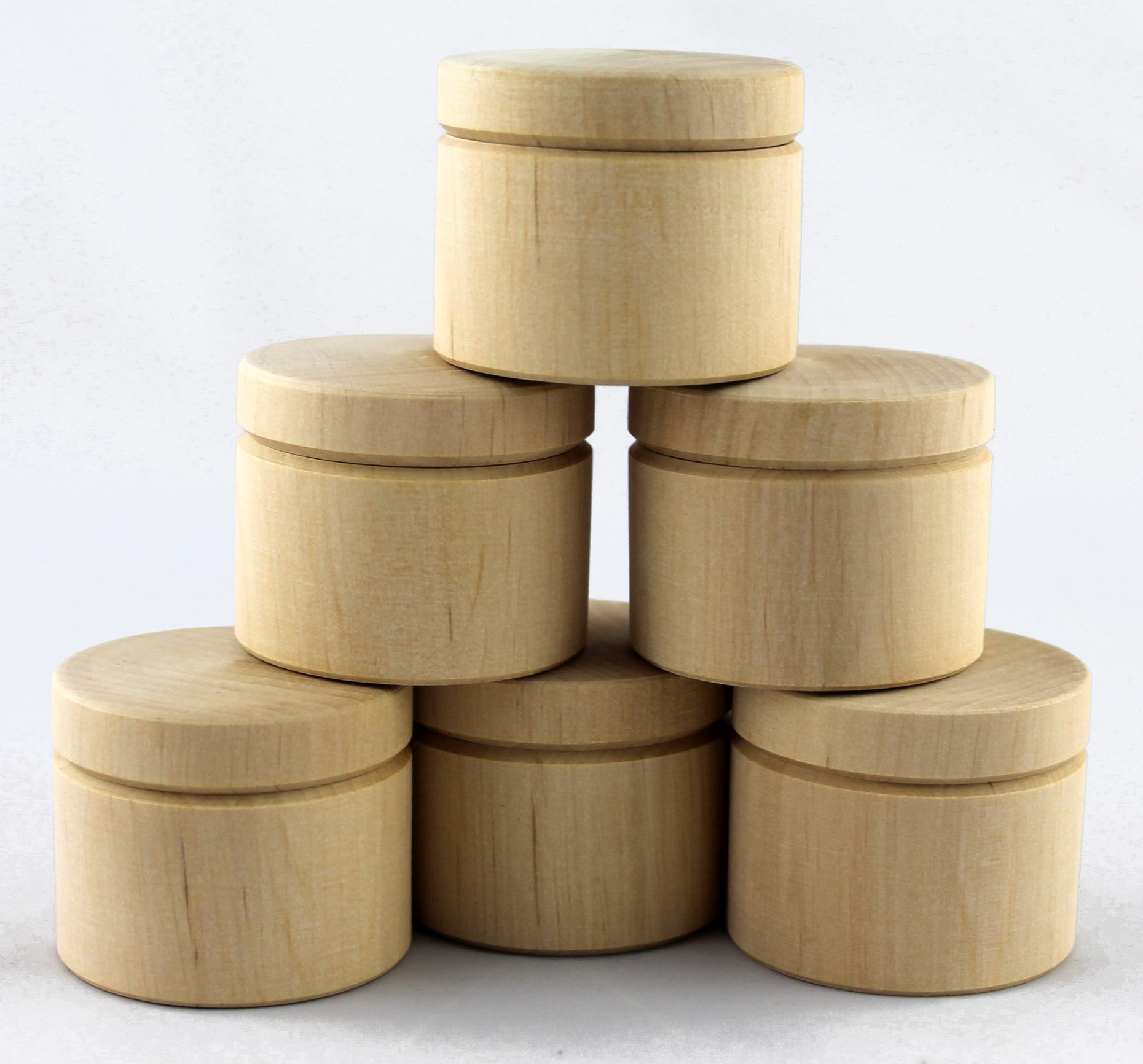 Lot 6 Handmade Unfinished Small Wooden Boxes, Wholesale Wood Craft Boxes