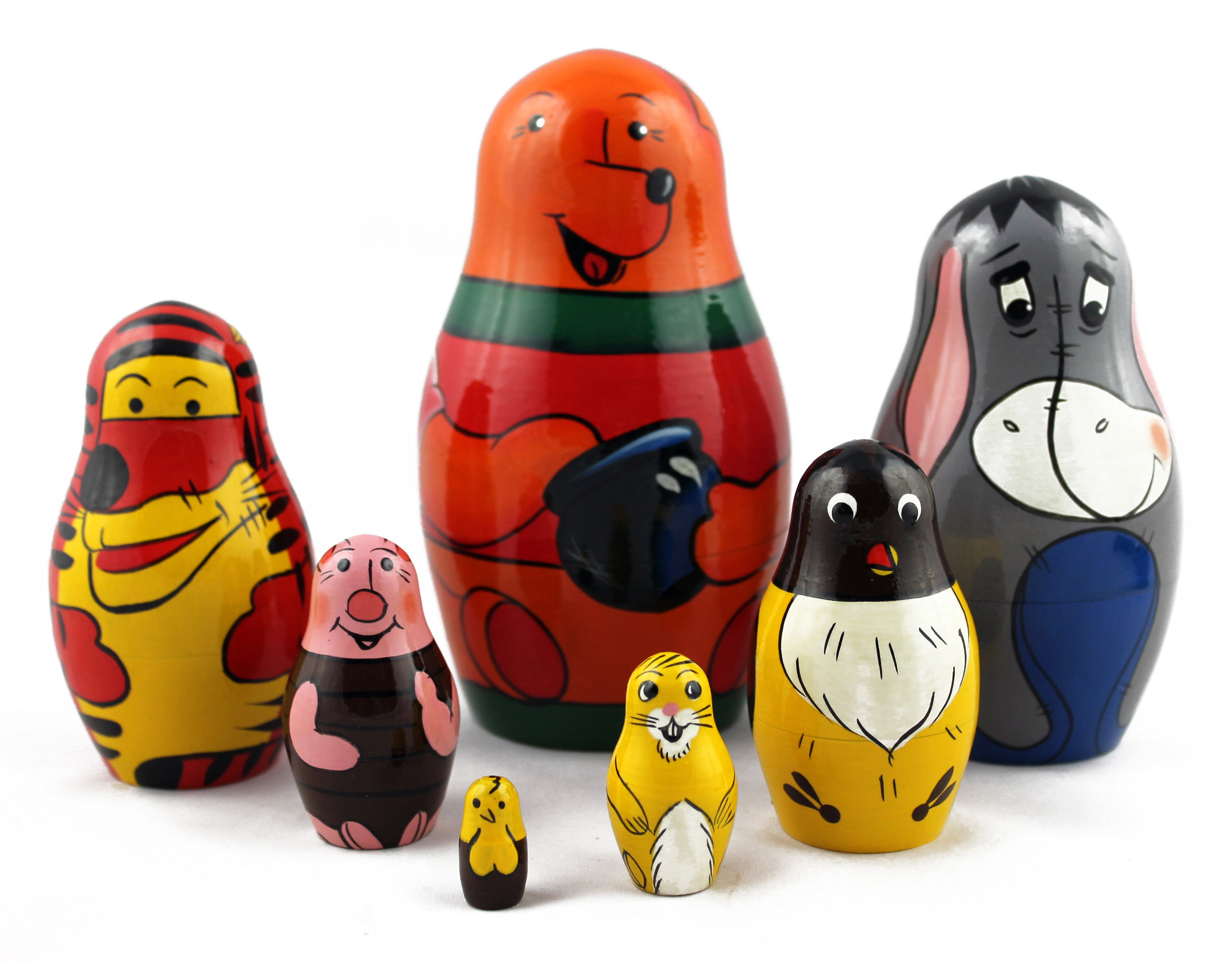 7pc Penguin Matryoshka Russian Handmade Stacking Nesting Wooden Dolls in Dolls