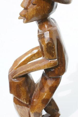 Haitian Man Playing African Drum Wooden Sculpture Made In Haiti 12 95 Usd Globebids