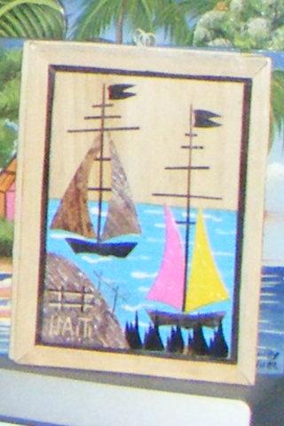 Haitian Painting with Boat Design, Woodcraft Store of Haiti