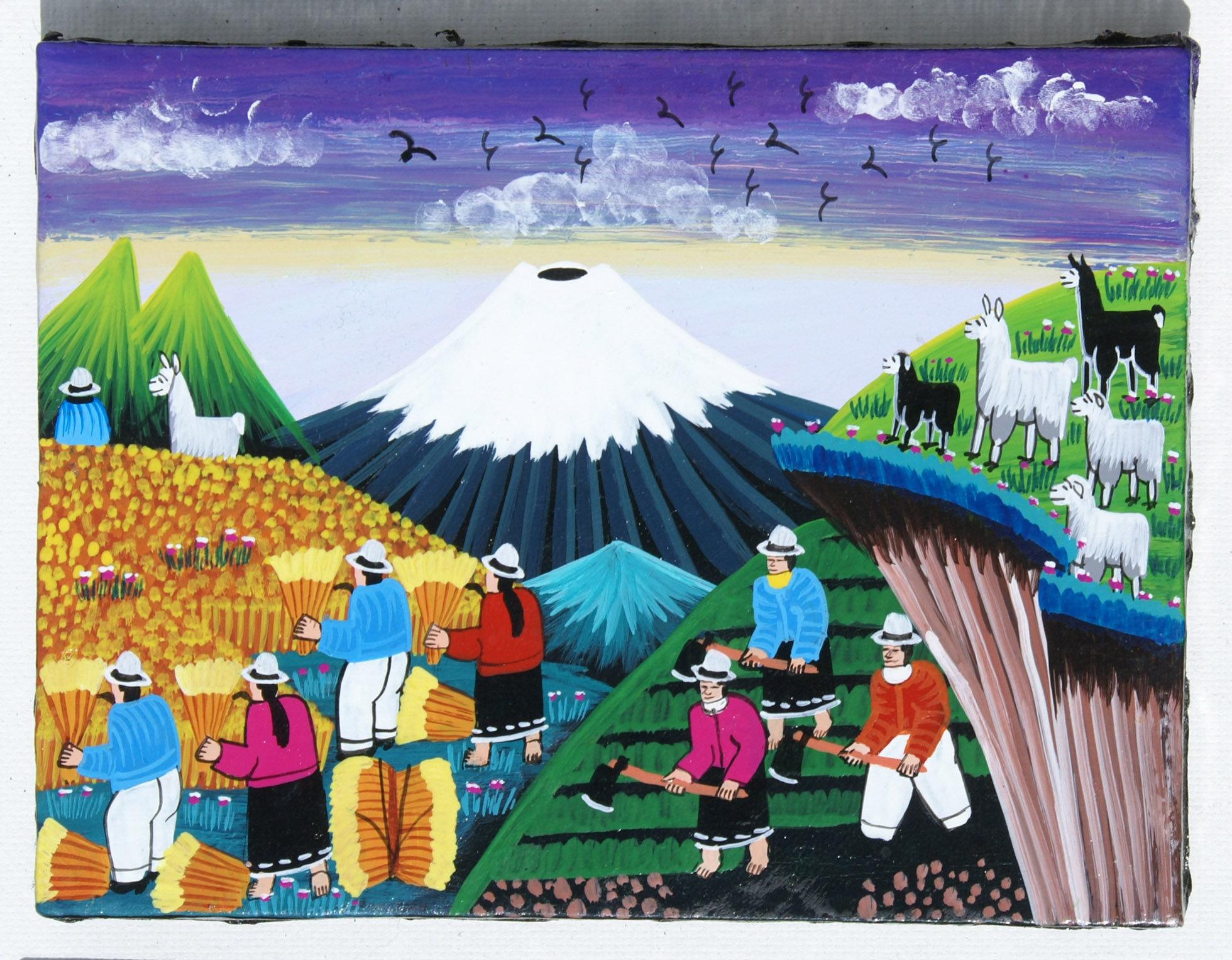 Tigua Art Indian Painting On Sheepskin Handmade In