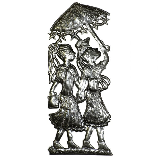 Metal Umbrella Wall Decor : Two girls with umbrellas metal drum art wall decorations
