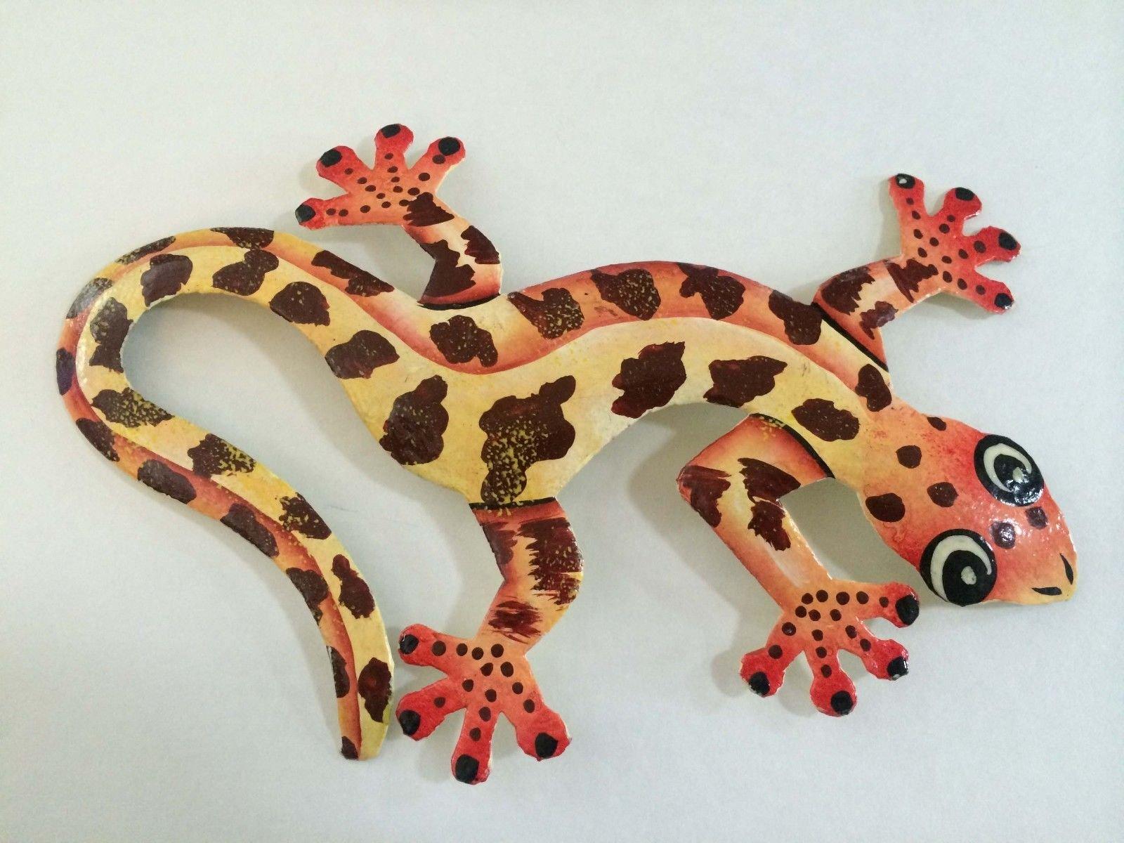 Hand Painted Art Tropical Spotted Gecko Haitian Metal Art ...
