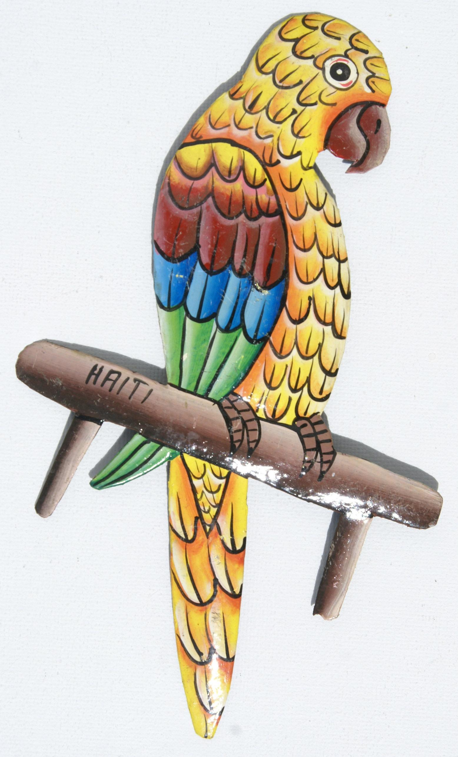 Cheap metal wall art colored tropical parrot haitian metal Metal wall decor cheap