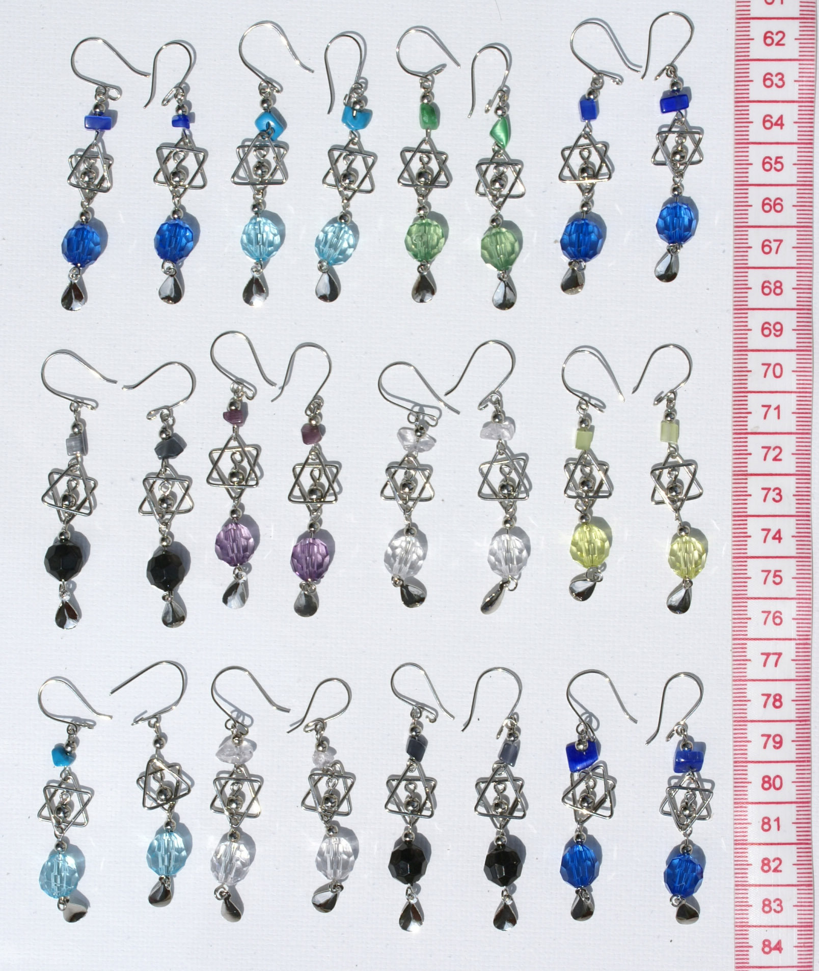 lot 10 pairs colored murano crystals ethnic peruvian