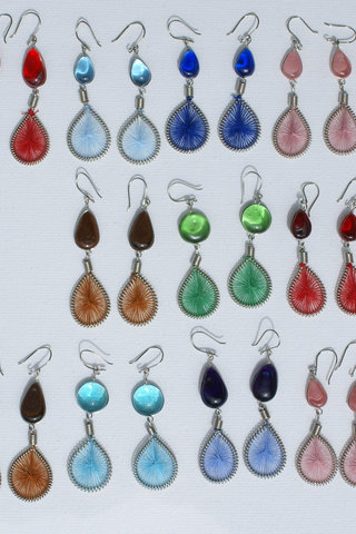 Lot 5 Pairs Natural Color Seeds Dangle Earrings Handcrafted Peruvian Jewelry