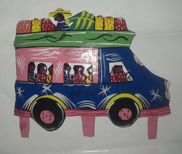Haitian Painted Bus Tap Tap With People Metal Wall Decor