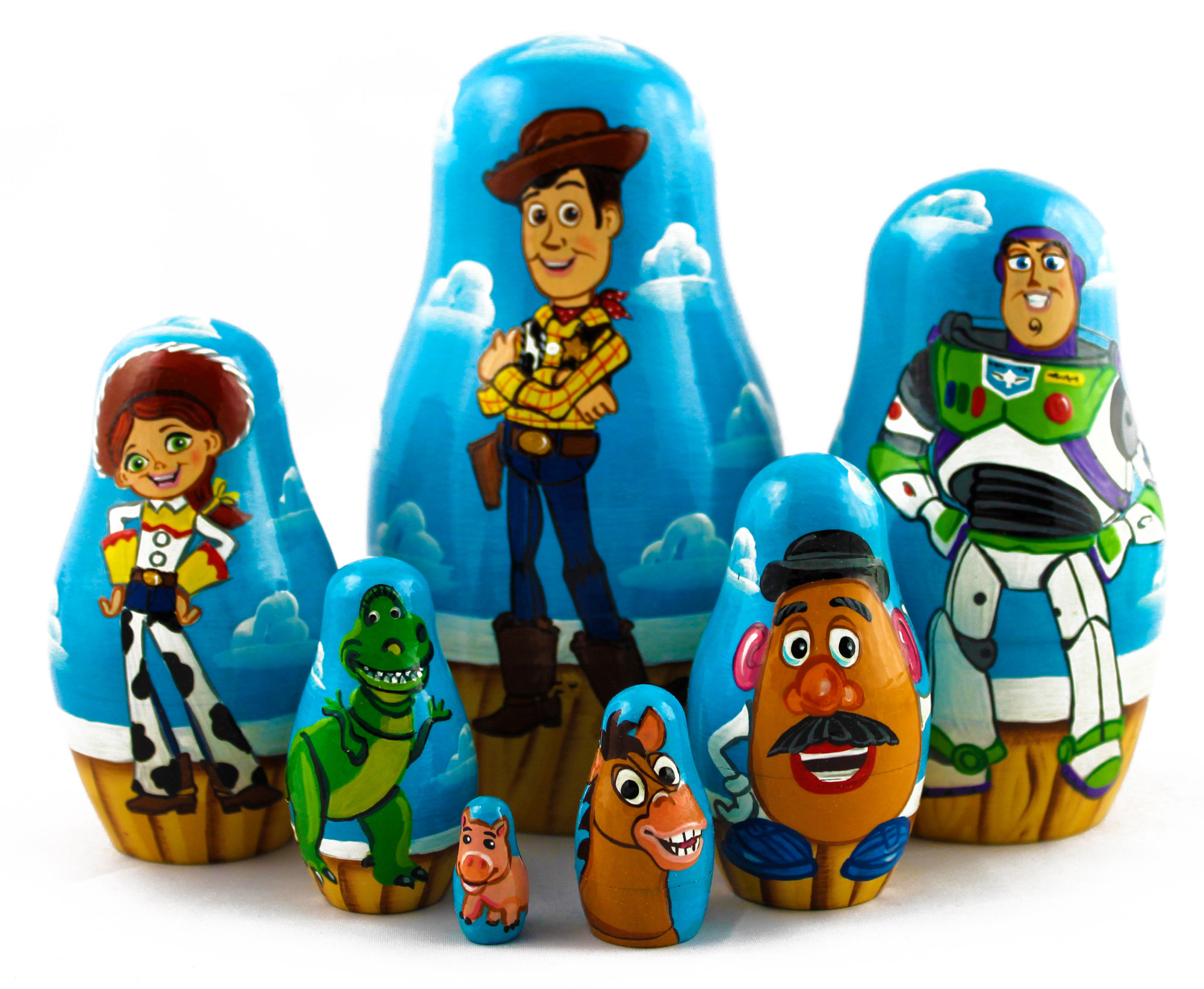 toy story nesting wooden dolls matryoshka tv movie art souvenirs