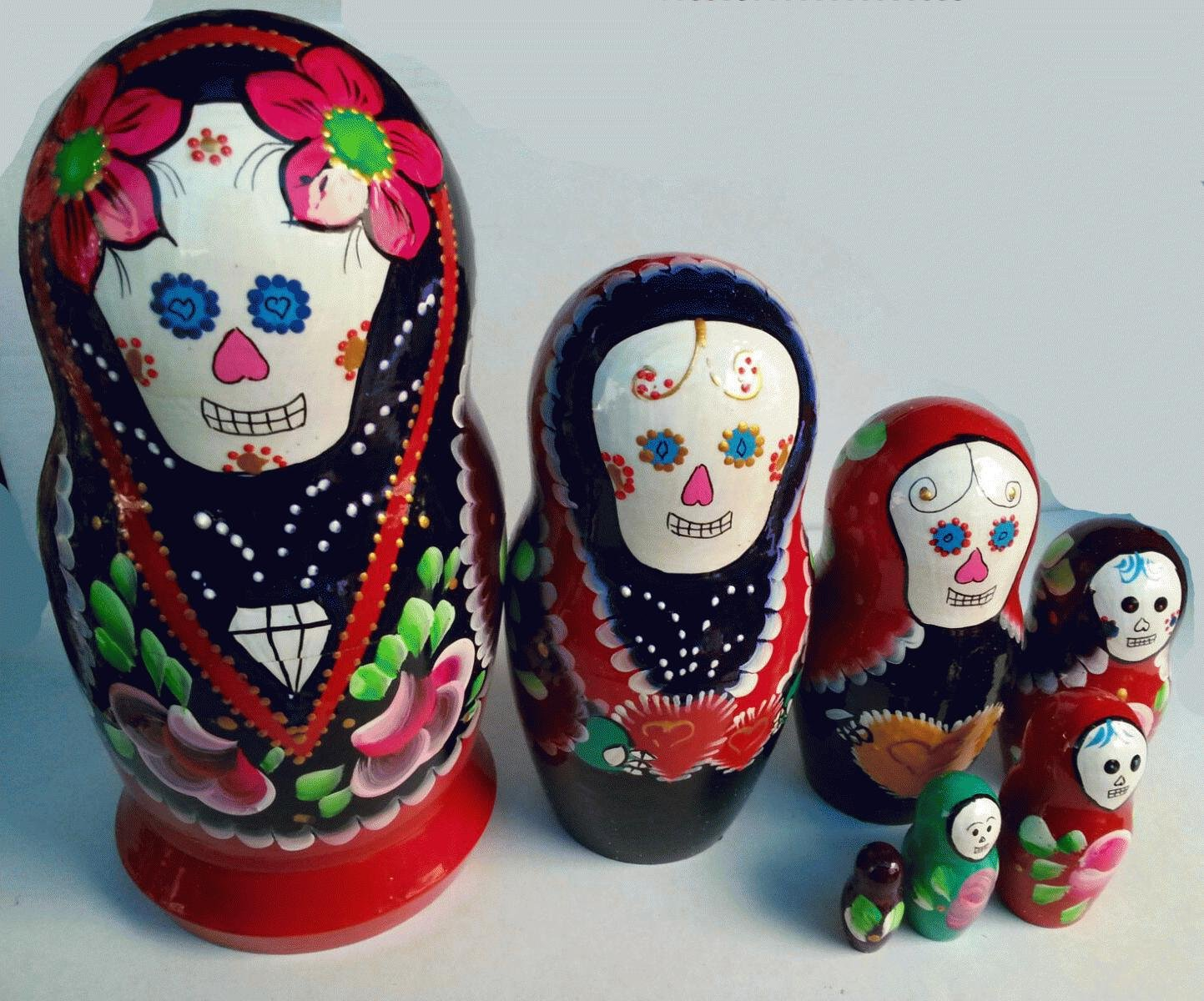 day of the dead matryoshka dark blue colored wooden