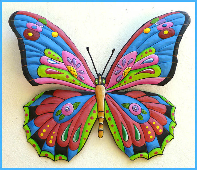 Butterfly Wall Art Design Painted Metal Indoor Or Outdoor Patio Home Decor