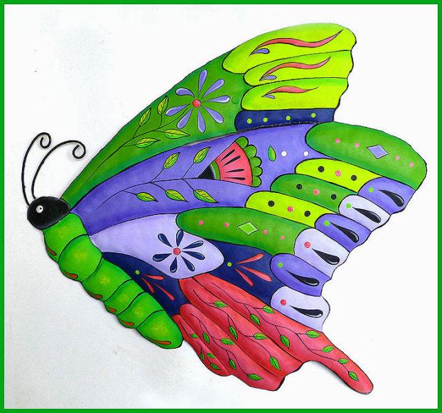 Brightly Hand Painted Metal Butterfly Wall Decor, Outdoor Garden Art, 60cm    $69.95 USD   GlobeBids