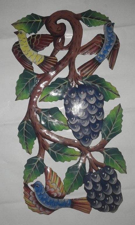 Grapes Decor Metal Hand Painted Haitian Steel Drum Art ...