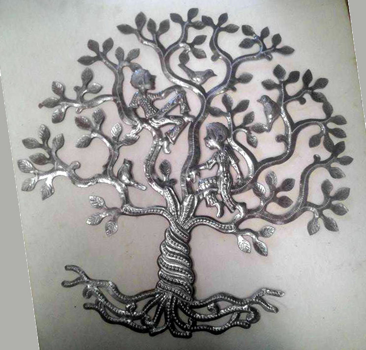 Tree of life with people and birds wall hanging tree of for Decoration murale annee 60