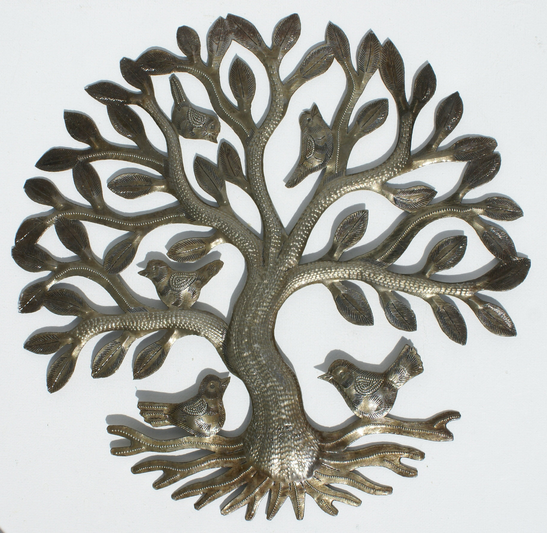 Metal tree of life with birds wall art metal wall hangings for Metal arts and crafts