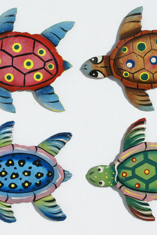 Set 4 colored turtles haitian steel drum art hatian art for Decor international wholesale