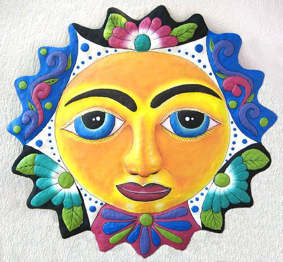 Sun Metal Garden Art - 60cm - Painted Metal Art Sun Wall ...