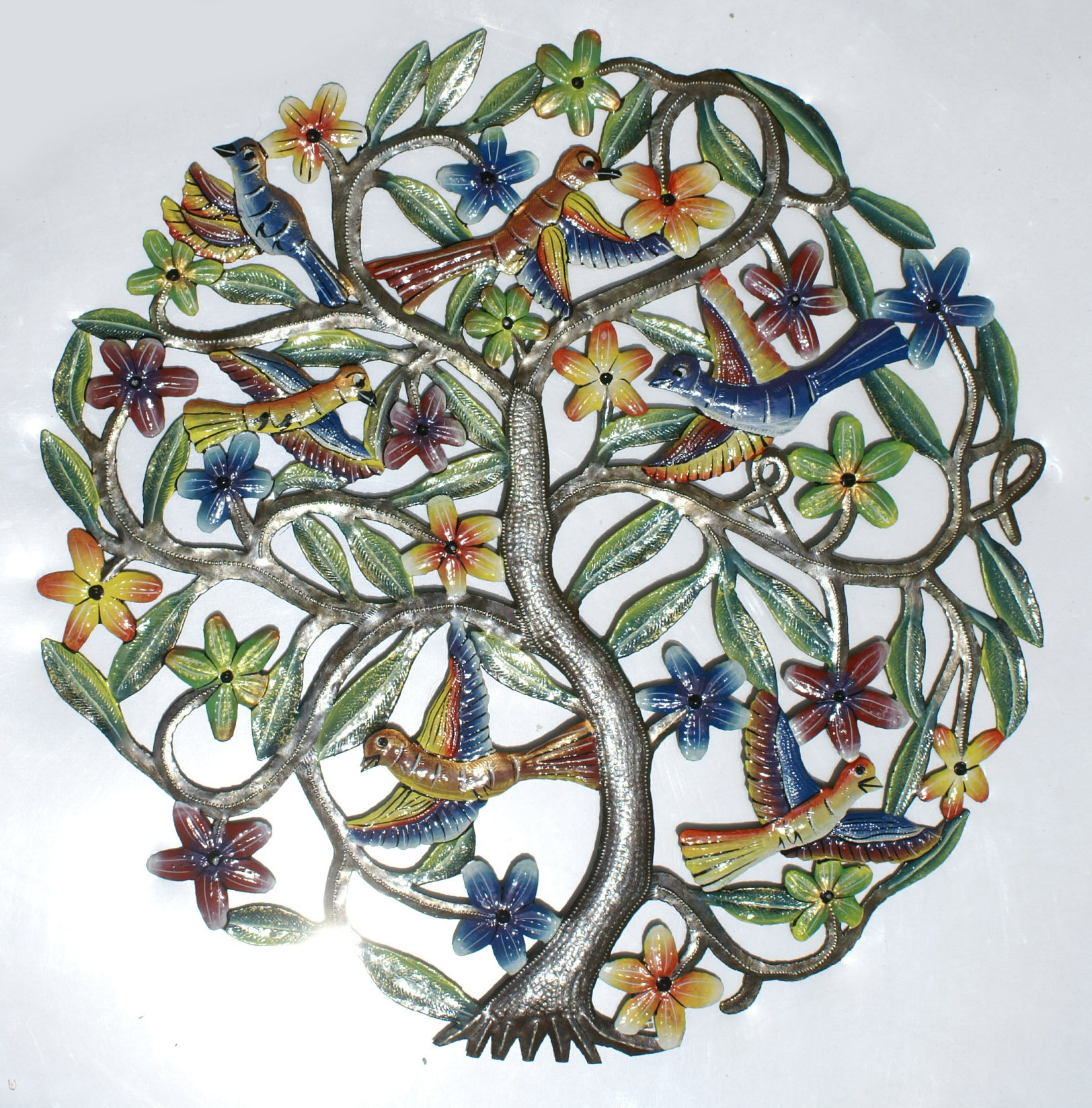 Colored Tree Of Life With Birds Hanging Metal Wall Art
