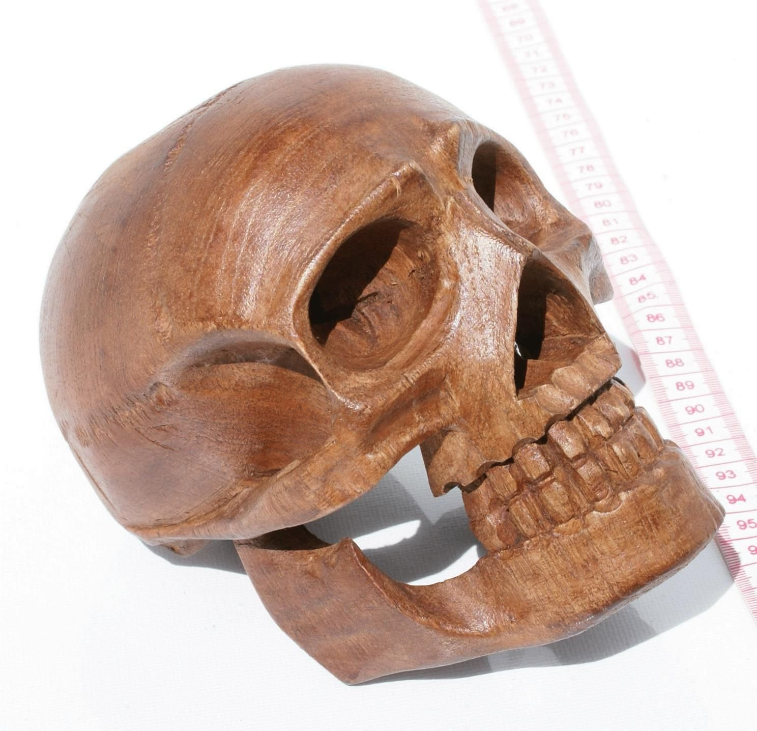 Hand carved wooden skull mythical magic fantasy talisman